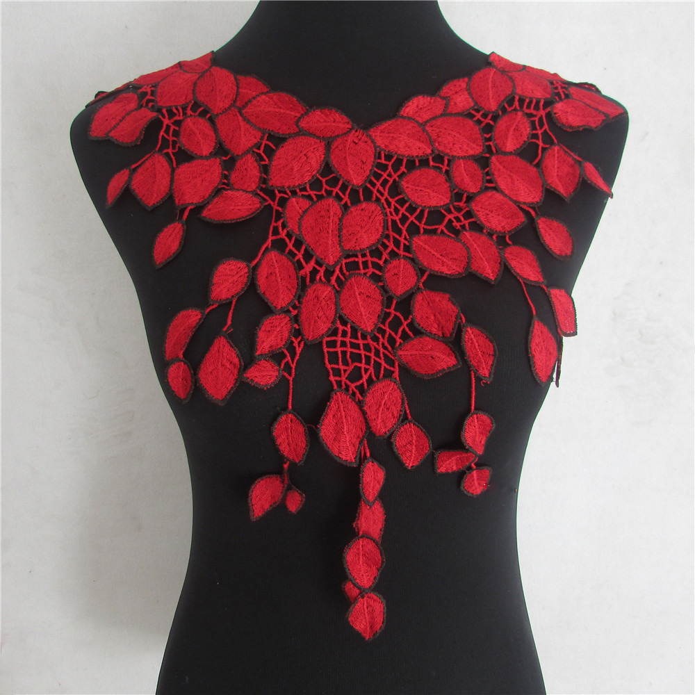 red Lace Fabric Dress Applique Motif Blouse Sewing Trims DIY Neckline Collar Costume Decoration Accessories YL830