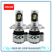 HSUN 2pcs G8 12000LM High Power LED Light Headlight 72W H7 PSX24W H4 White Motorcycle Front