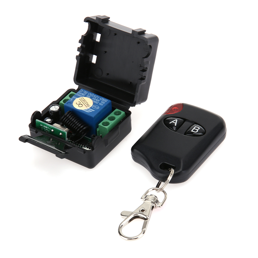 DC 12V Single Open Metal Button Two Key /433 MHz Remote Control Learning Method Transmit 20-100M