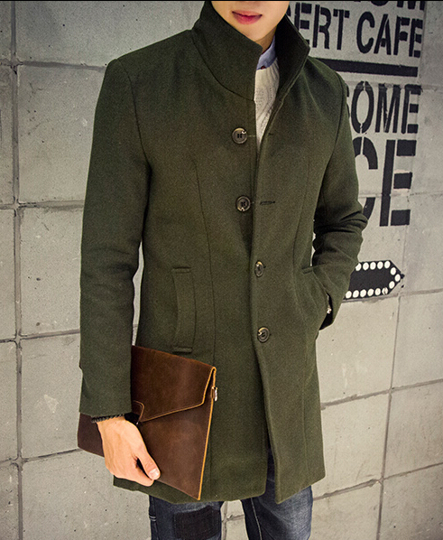 Korean slim fit Casual mens long army green trench coat 3xl Black grey navy blue wine red Woolen