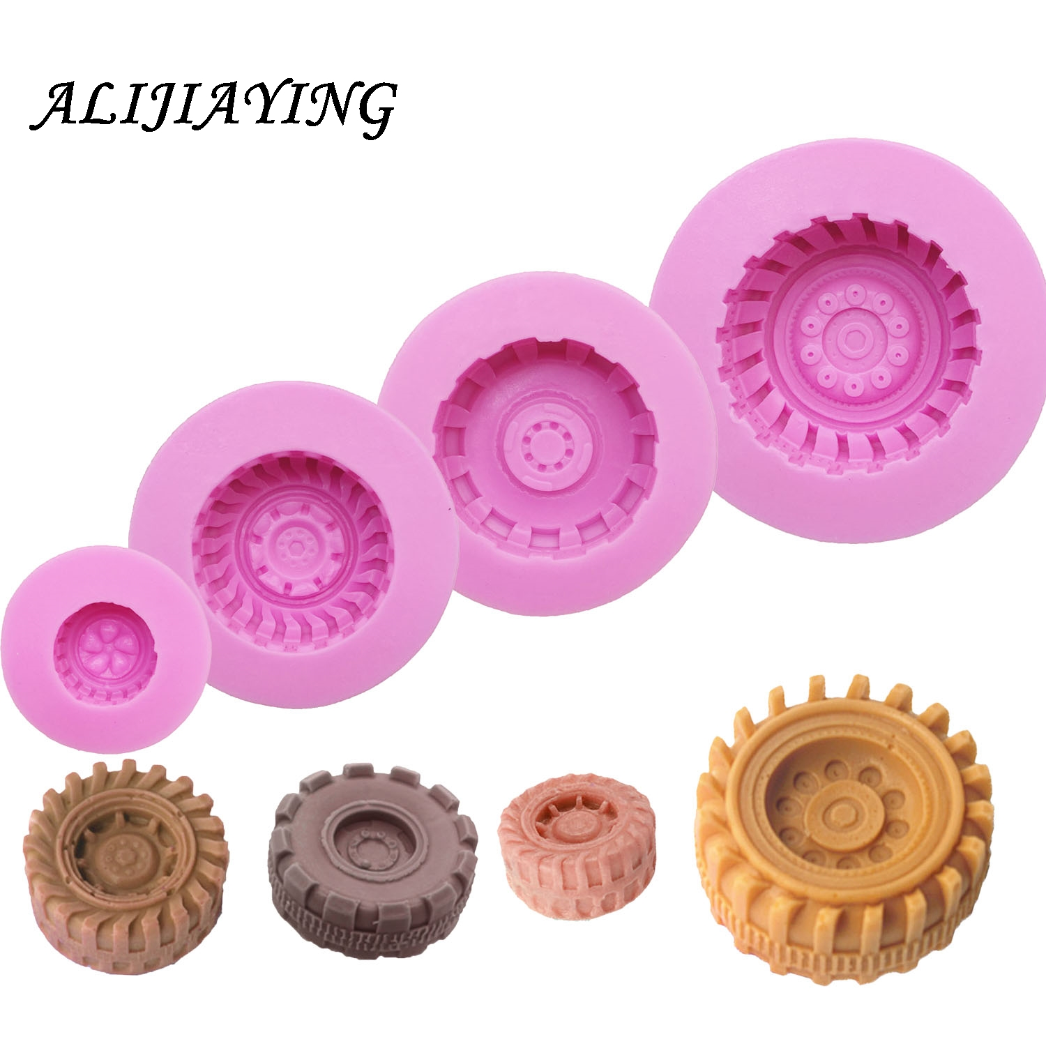 1Pcs Silicone Mold Tires Wheel Chocolate Cake Molds Car Tyre Shape Fondant Decorating Tools Resin Clay Soap D0623