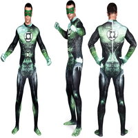 Di alta qualità green lantern costume full body costumi lycra spandex suit zentai supereroe lanterna verde cosplay holloween