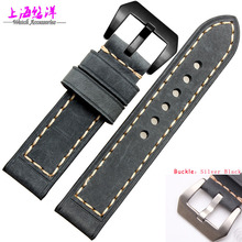 20mm 22mm 24mm 26mm 1pcs Top Grade Quality Gery Genuine Leather Watch BANDS Strap Bracelets Brushed