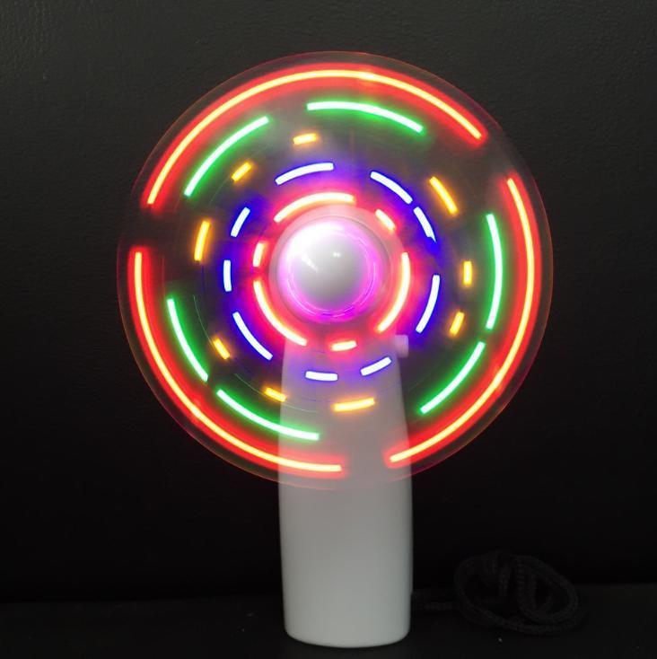 Plastic LED Color Fan Matrix Portable Mini Air Cool Fan Green Blue Light Up Toys