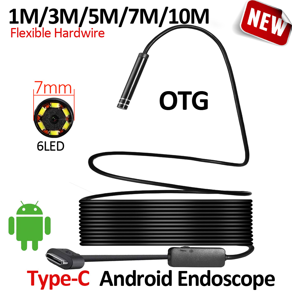 OD7mm Android USB Type-C Endoscope Camera Flexible Snake USB Type C Hard Wire 1M 3M 5M 7M 10M Cable Inspection Camera Borescope 7mm 3 in 1 usb endoscope camera 5m soft wire ip66 waterproof snake tube inspection android otg type c usb borescope camera
