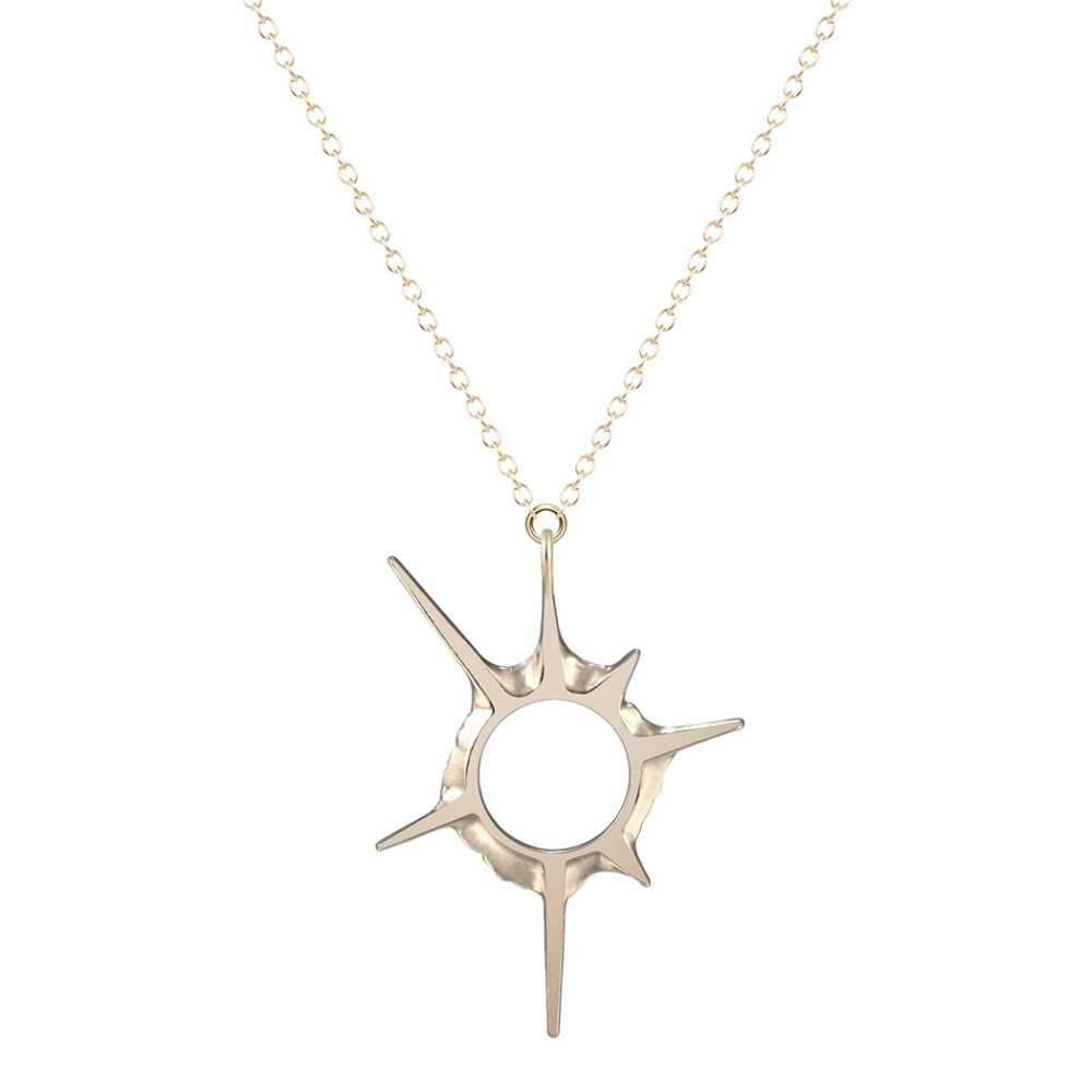 Todorova 10pcs Solar Eclipse Sun Rays Sci-fi Universe Star Pendant Necklace Accessories for Women Minimalist Steampunk Jewelry
