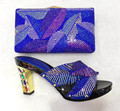 Royal Blue Italian Shoes With Matching Bags Women Nigeria Wedding Shoes And Bag To Match With Stones Size 37-43 TT08