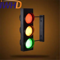 IWHD Loft Style Creative Traffic Lights LED Wall Lamp Vintage Wall Light Fixtures Dining Room Wall