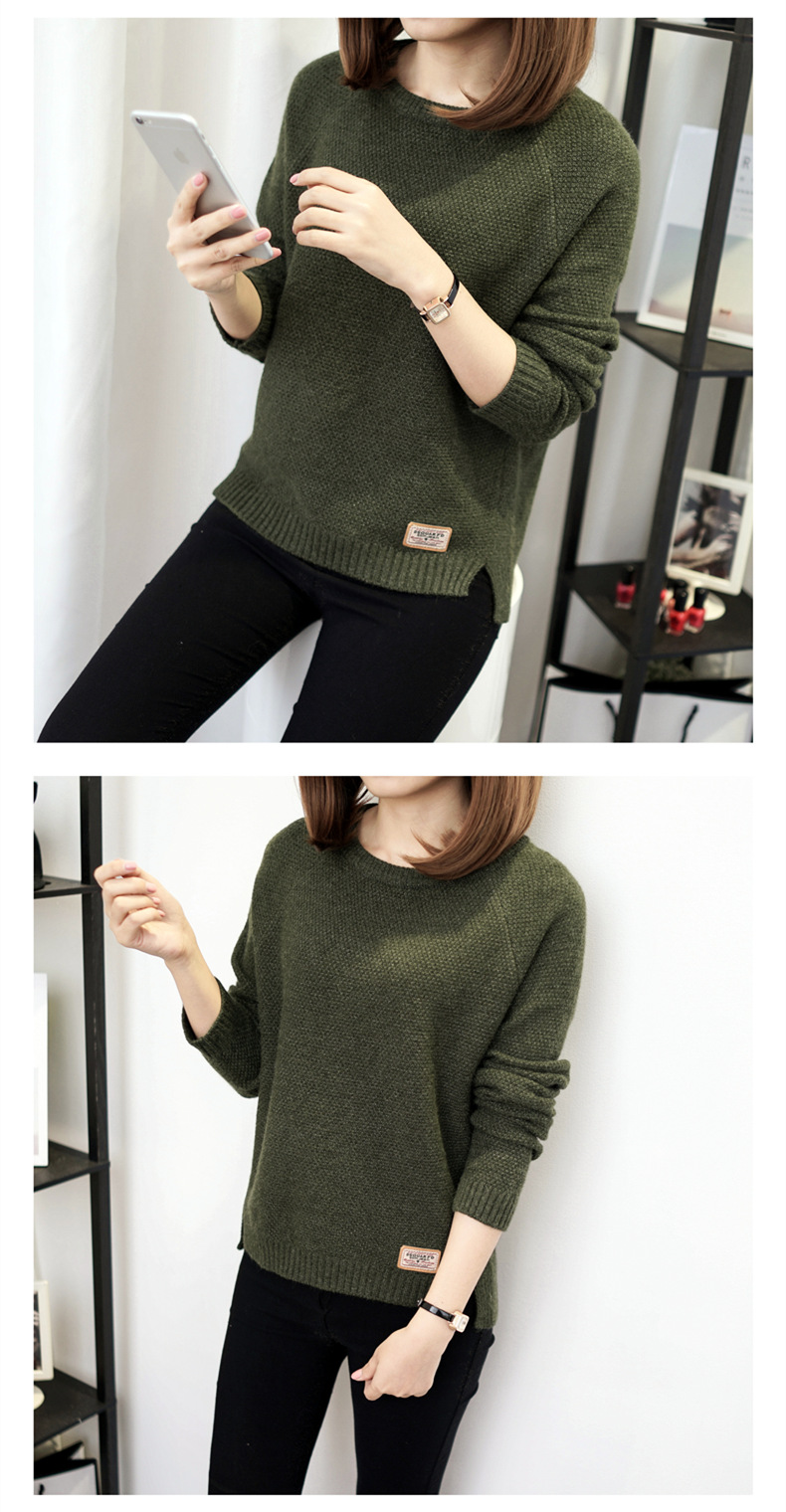 Autumn sweater 19 Winter women fashion sexy o-neck Casual women sweaters and pullover warm Long sleeve Knitted Sweater 10