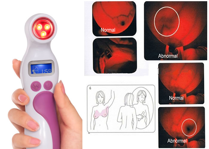 Infrared Breast Mammary Gland Breast Cancer Detection Device With 1500mAh Rechargeable Battery american cancer society breast cancer certificationed screening device women 654nm red light self check at home for sale