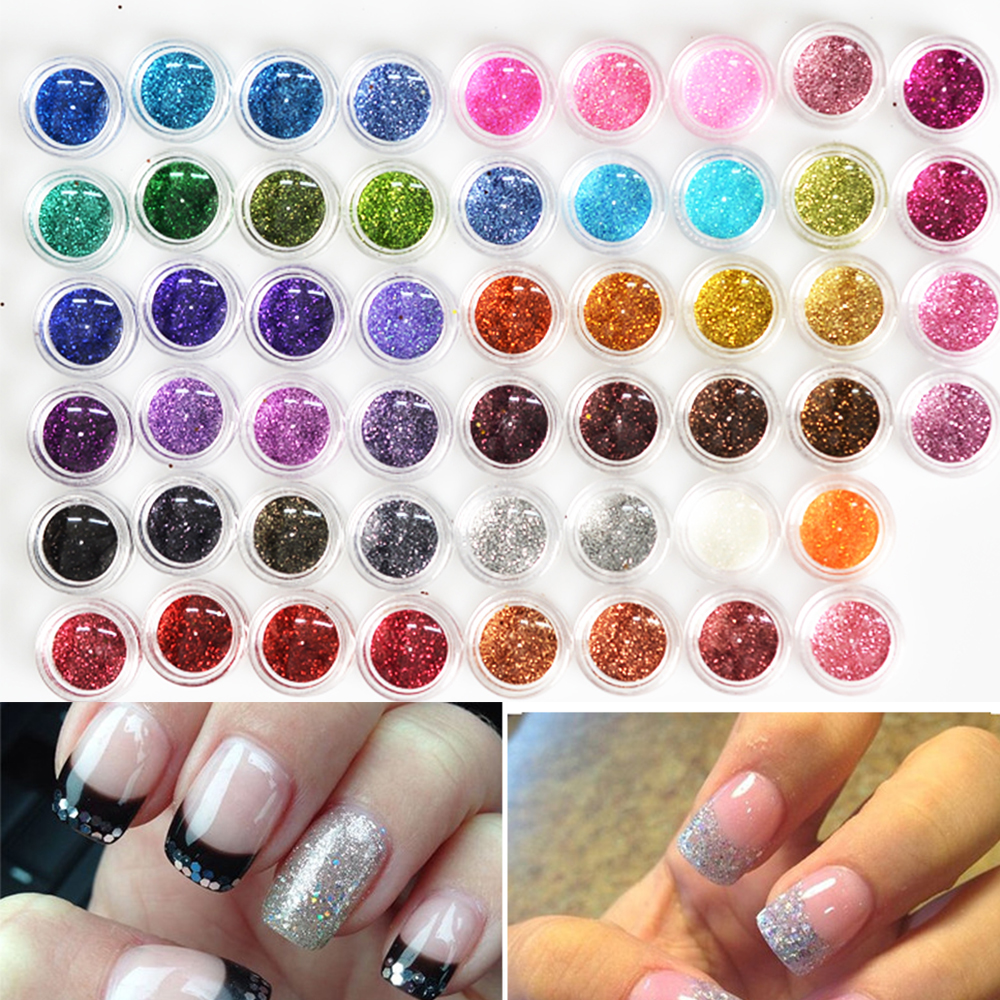 60pcs dazzling 60 colors nail glitter powder dust 3d nail for 3d acrylic nail art decoration