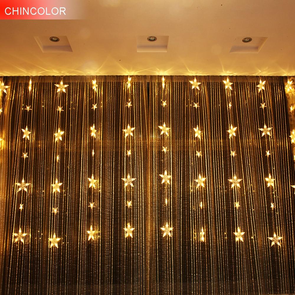3*1.5m 78leds Holiday lights Star Curtain Led Light string Multicolor AC Plug Xmas christmas wedding fairy Festival decor DA star decor rod pocket sheer curtain 1pc