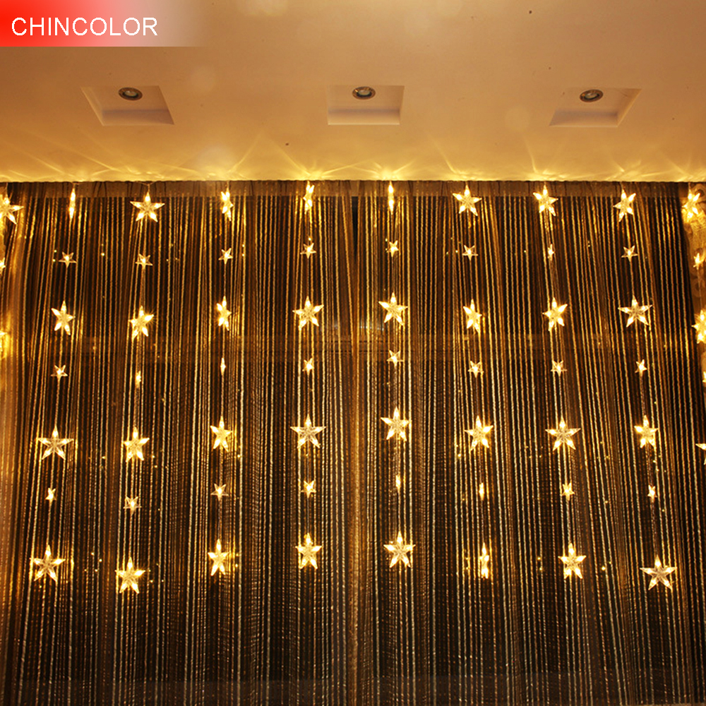 3*1.5m 78leds Holiday lights Star Curtain Led Light string Multicolor AC Plug Xmas christmas wedding fairy Festival decor DA
