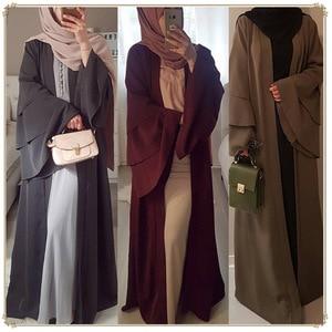 Image 2 - Vestido Abaya de manga acampanada para damas, Kimono musulmán, cárdigan, Hijab, turco, Elbise, Mubarak, Islámico