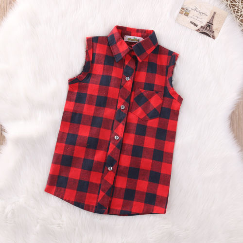 Red Toddler Baby Kids Boys Girls Sleeveless Vest Shirt Plaids Checks Tops Blouse Clothes Outfits red longline sleeveless check shirt with split hem