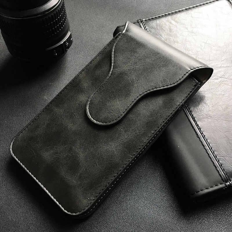 العالمي الحقيبة الجلدية الورك الخصر المزدوج محفظة الهاتف حقيبة المغناطيسي الحافظة حزام كليب الرأسي حالة غطاء لجميع الهاتف أقل 6.8in