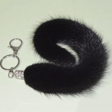 Real Mink Fur Tail Keychain Women  Lovely Girls Ball Key Chain Unisex Lady  Animals Trendy Female Bag Pendant New