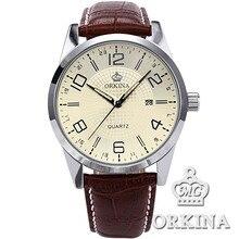 Orkina Hommes De Mode D'affaires Montres À Quartz 2016 D'origine Marque Casual Auto Date Brun En Cuir Argent Horloge Montre-Bracelet Pour Hommes
