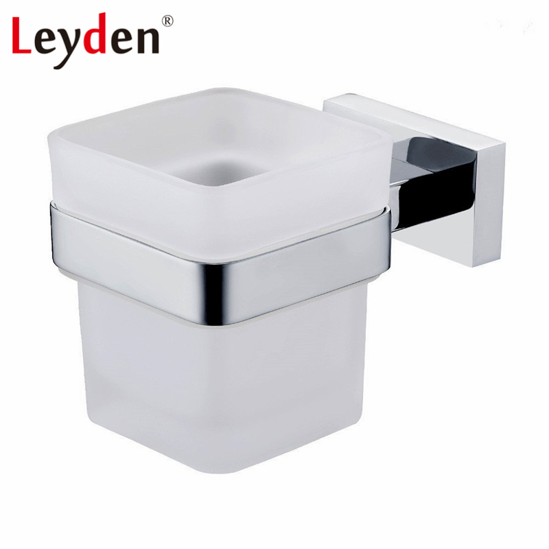 Leyden Square Tumbler Stainless Steel Wall Mounted Toothbrush Tumbler Holder Chrome Toothbrush Hanger Rack Bathroom Accessories image