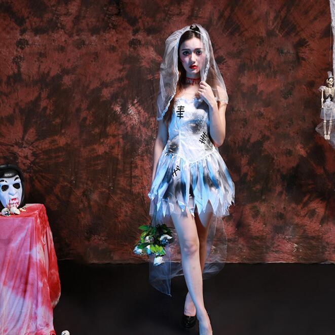Сексуальная Хэллоуин Карнавал Cos костюм для женщин Марли подол scarey Косплэй Fantasia Infantil призрак Анастасия veilfancy торжественное платье