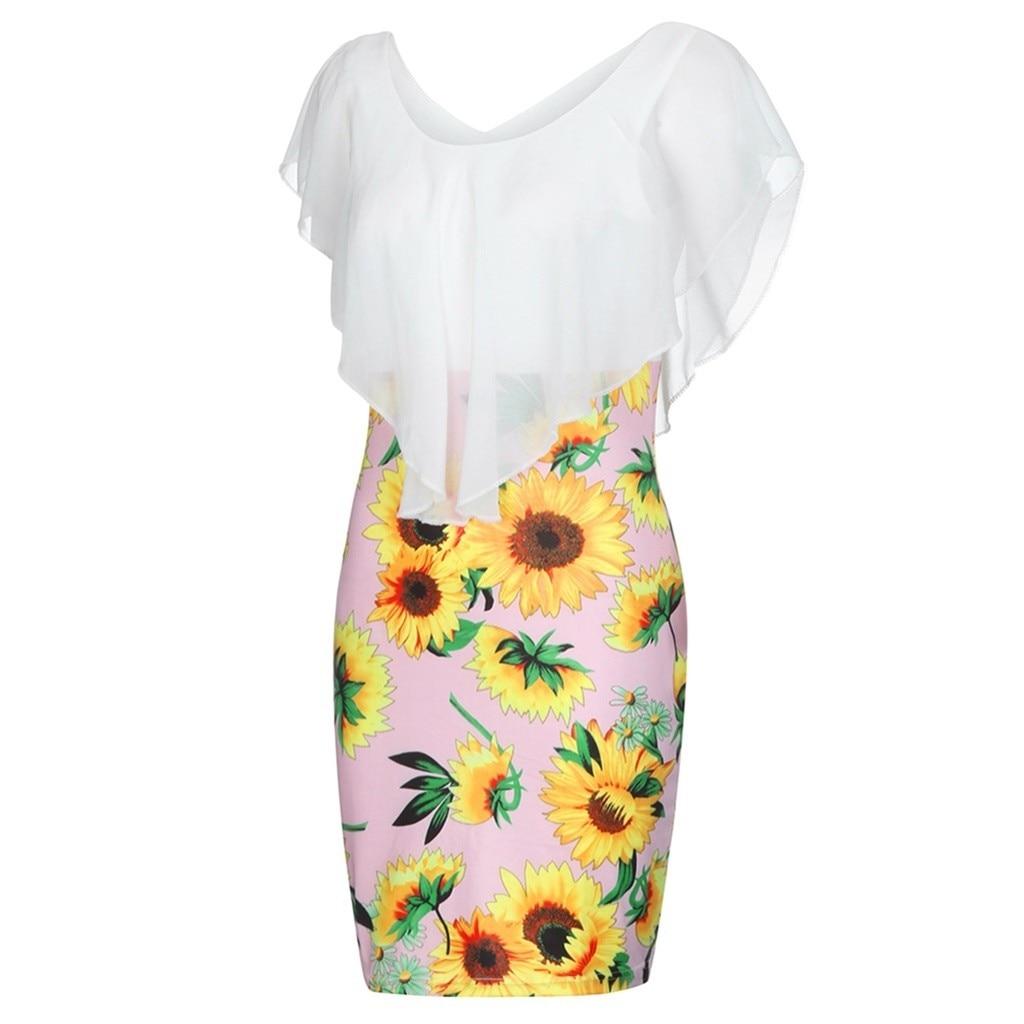 HTB1WQJlV3HqK1RjSZJnq6zNLpXa6 Sexy Womens Sunflower Summer Bodycon Dress Sleeveless Printed Holiday Party Short Mini Dresses Ruffle Summer Dress 2019 Vestido