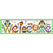 Cross Stitching The owl welcome card DIY Needlework Patchwork DMC counted