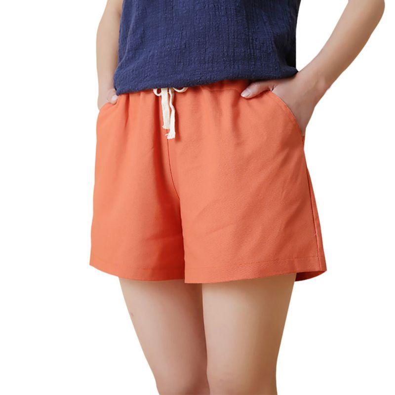 ETOSELL Summer Women Casual Shorts Wide Leg Loose High Waist Shorts Elastic Drawstring Waist Pockets Shorts