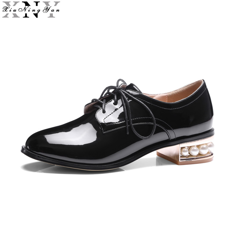 XiuNingYan Women Patent Leather Flats Shoes Lace Up Loafers Handmade Beads Ofords Shoes Silver Black Casual Shoes Big Size 33-48 cover pl44027 01