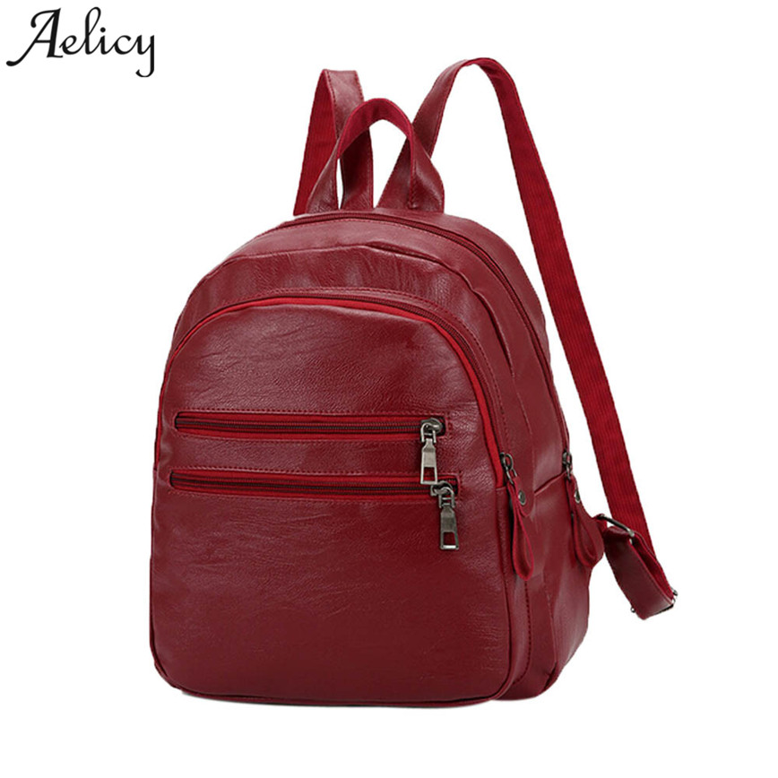 Aelicy Simple Backpack Women Black Red Leather Shoulder Bags Girls School Bag Teenager Student Bag Casual Travel Bags