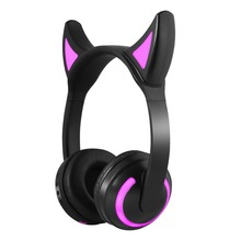 Cute cat ear bluetooth headphones with multicolor led light wireless headphones support aux headsets