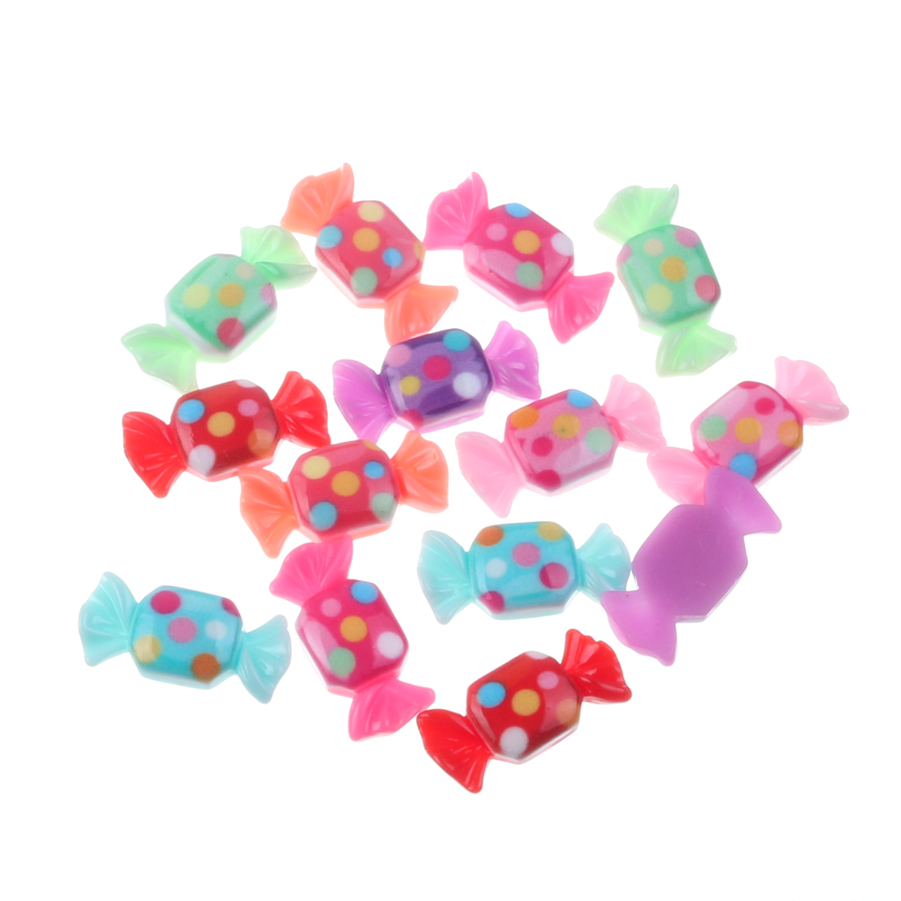 50pcs Mixed Spotted Resin Candy Decoration Crafts Flatback Cabochon Embellishments For Scrapbooking Beads Diy Accessories
