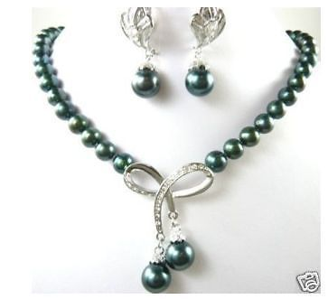 цена на FREE shipping>>>>>The new stylish black pearl earrings and necklace set
