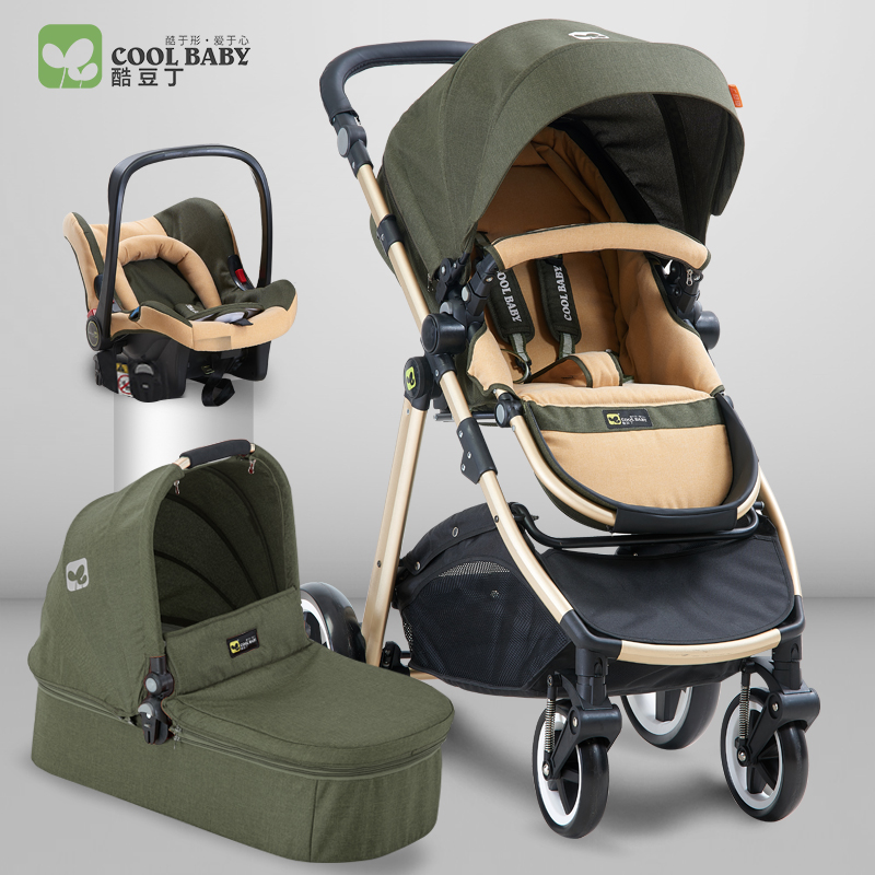 Babyfond Baby Stroller High Landscape Trolley Two-way Shock Proof carts 3in 1 Child Umbrella car European High-end Materia kds twin baby stroller high landscape two baby trolley hand double fold front and rear can lie luxury umbrella carts