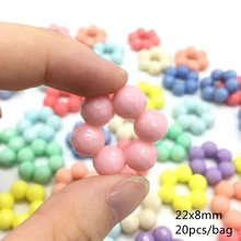 Meideheng Acrylic Plastic The sixth circle colorful Beads For Jewelry Making DIY Craft Needlework Accessories 22*8mm 20pcs/bag