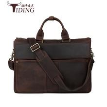 men's briefcase handbags cow leather 2017 business man dress casual vintage brown 17