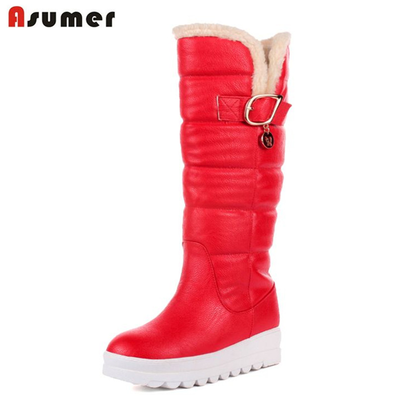 ASUMER Large size 34-43 mid calf boots round toe med heels platform women shoes high quality pu leather thick winter snow boots new fashion winter boots wool flock shoes women boots platform thick high heels mid calf boots two swear big size 34 43 0715
