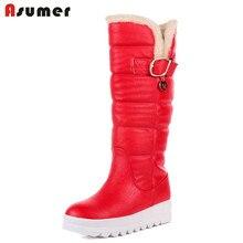 ASUMER Gran tamaño 34-43 a mediados de la pantorrilla botas de punta redonda tacones med plataforma zapatos de las mujeres de alta calidad de cuero de la pu gruesas botas de nieve de invierno