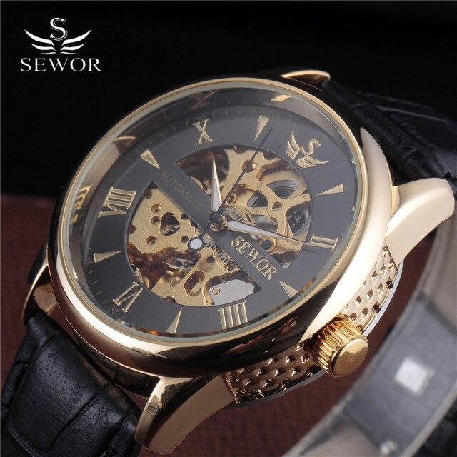 cee5e8fc83c SEWOR Esqueleto Relógio Mecânico Relógio de Ouro Relogio Masculinos De  Couro Original Homens Marca De Luxo