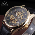 SEWOR Skeleton Mechanical Watch Original Leather Relogio Masculinos Gold Clock Men Luxury Brand Mens Automatic Wristwatches Gift