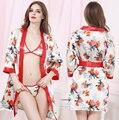 Вкус равномерное бытовой кимоно халат в Европе и сексуальный прозрачный кружевной халат сауна трехточечные пижамы SQ71