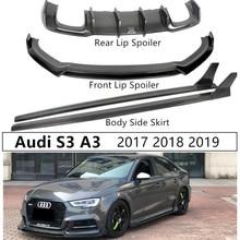 Для Audi S3 A3 Sports углеродное волокно Передний Задний спойлер диффузор боковая юбка высокого качества авто аксессуары