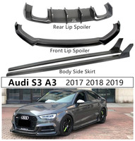 For Audi S3 A3 Sports 2017 2018 2019 Carbon Fiber Front Rear Lip Spoiler Diffuser Body Side Skirt High Quality Auto Accessories