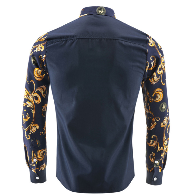 FDWERYNH Brand Mens Blouse New Fashion Printing Long-sleeved Blouse Social Casual Slim Fit Luxury Male Tops Clothing