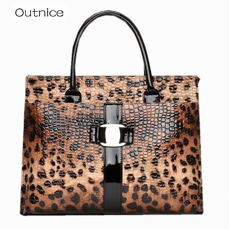 ФОТО OUTNICE Leapard Patent Leather Women Designer Handbag High Quality Top-handle Shoulder Bags Female Sac a Main Femme de Marque