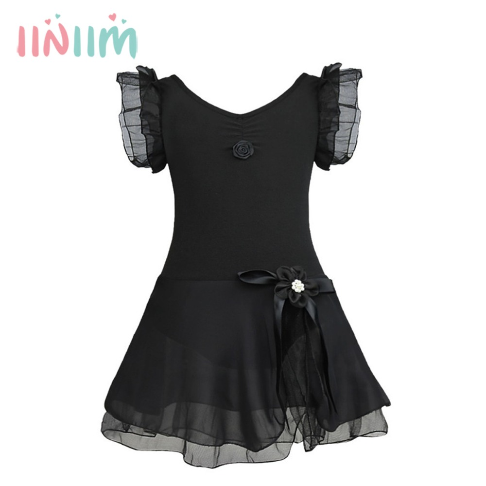 iiniim Cute Girl Ballet Professional Dress Leotard Bow Floral Tutu Dresses Teenager Kids Clothes Ballerina Costume Party Gifts new girls ballet costumes sleeveless leotards dance dress ballet tutu gymnastics leotard acrobatics dancewear dress