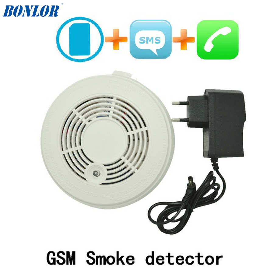 (1 PCS) Fire Control Alarm Detector GSM SMS Smoke Sensor Alarm Home Security Protection Call Number Detector For Free Shipping