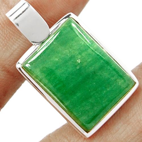Mão fazer Genuíno AP0395 Aventurina Verde Pingente 100% 925 Jóias de Prata Esterlina 38mm