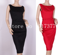 Classy Vintage Audrey Hepburn boat neck rosso, nero wiggle dress rockabilly vestito aderente taglie XS/S M/L/XL/1X/2X/3X/4X AA71