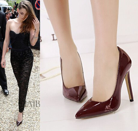 Vintage Retro Women High Heels Shoes Pointed Toe Wine Red Patent Leather  Night Club Shoes Woman Pumps