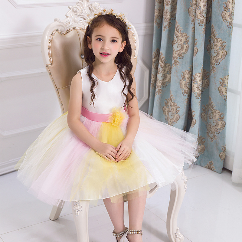 2017 Summer New Pattern Children Princess Korean Wedding Dress Thin Children's Garment Colour Performance Serve new summer